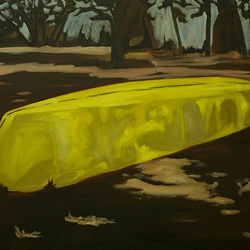 #Yellow Boat in Landscape  by Julie Williams